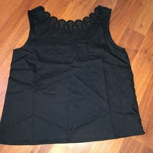 Black Scallop Laser Cut Collar Tank